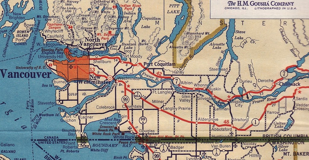 Road Conditions Vancouver: Road Map: Greater Vancouver And Fraser Valley, BC, 1942