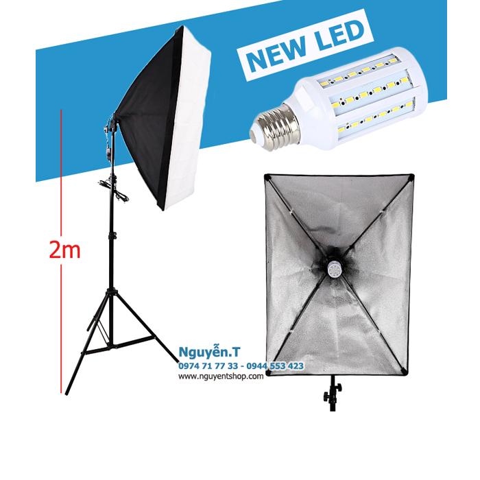 Bộ softbox 50x70 LED 360 độ 2500LM màu 6500K chân 2m