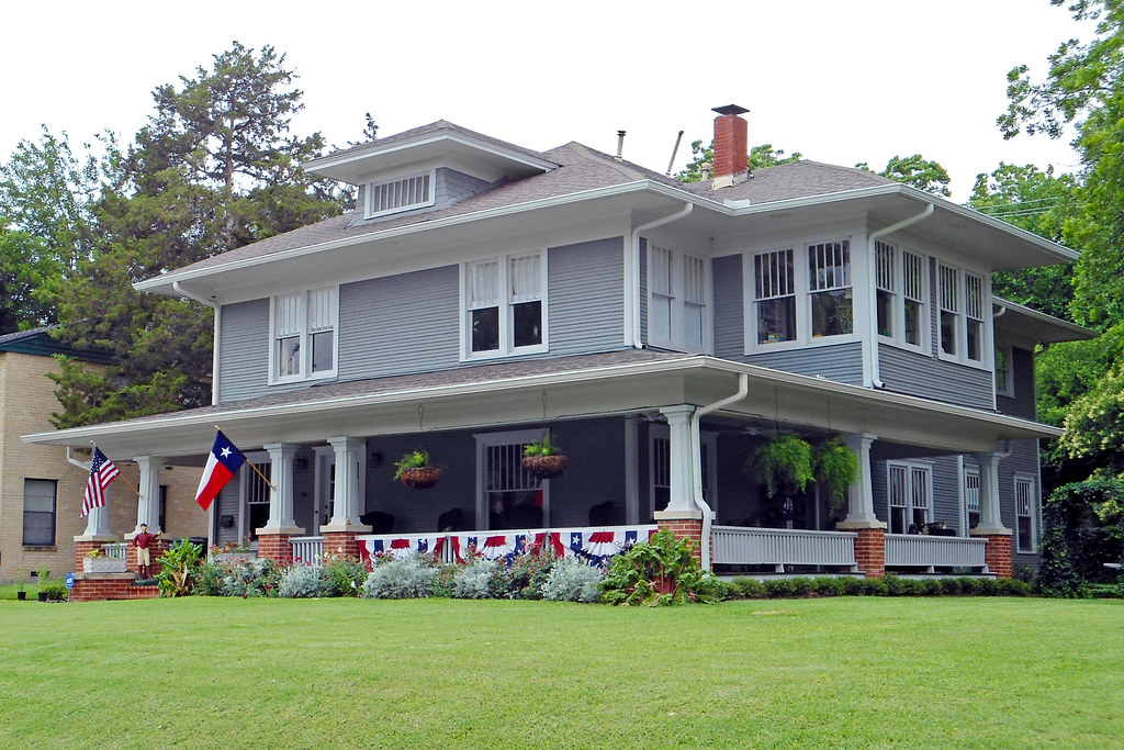 American Foursquare House with Flags, Swiss Avenue, Dallas