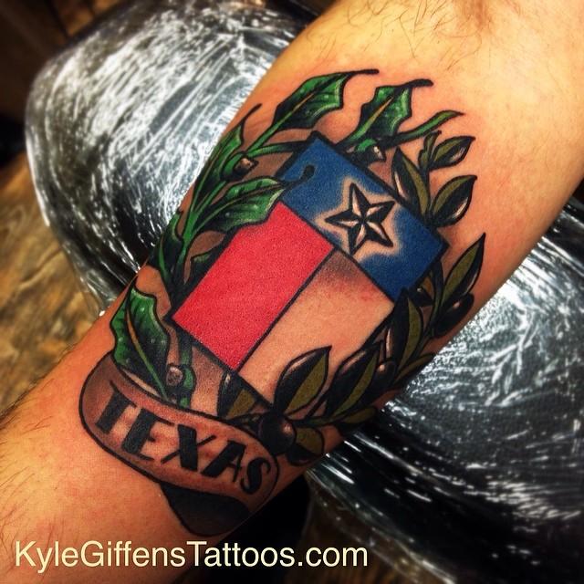 A texas flag for a buddy of mine kylegiffen tattoo tat for Tattoo artists austin tx