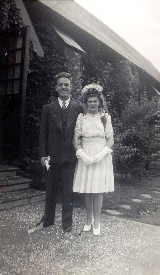 Wedding couple Christopher and Grace Bridgman at 821 Ogilvy (photo courtesy Ron Bridgman) on July 12, 1943.