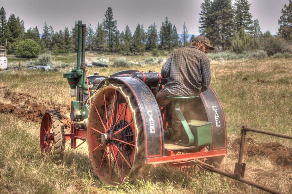 Case Garden Tractor Plow : Willie and son running plow with antique case tractor hdr