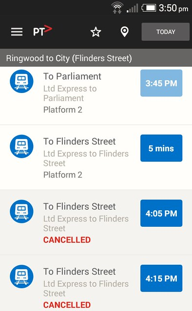 PTV app on Android, showing real-time train info