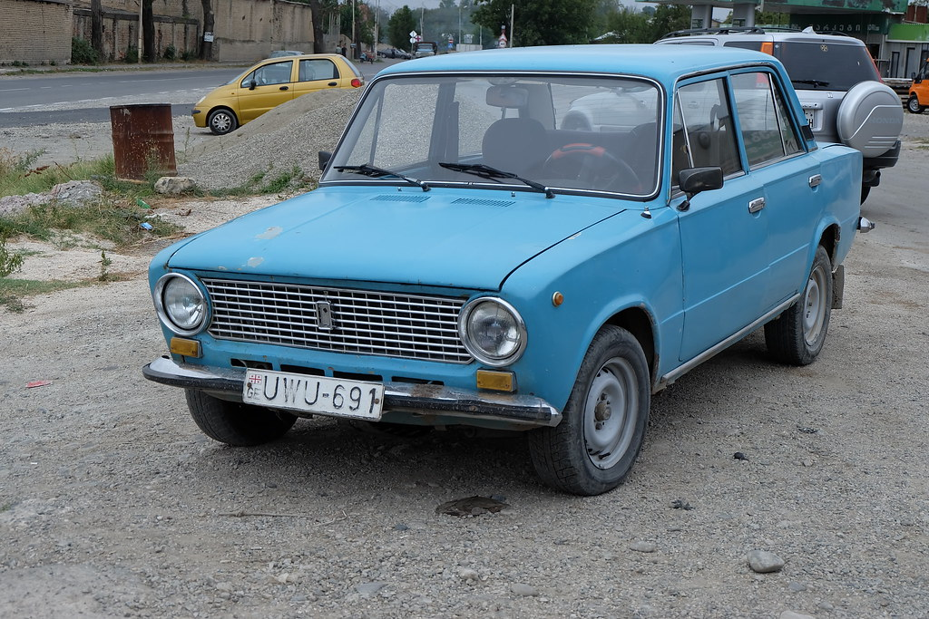 A Close View Of One Of Ancient Russian Lada Cars And So