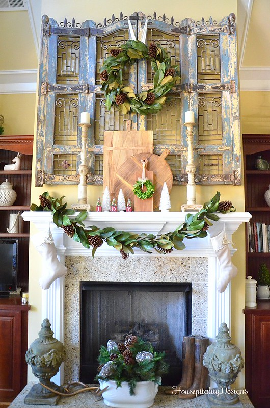 Christmas Mantel 2016 - Magnolia Wreath - Magnolia Garland - Housepitality Designs