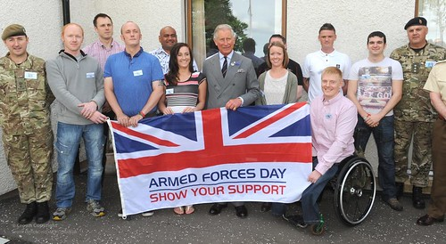 HRH Prince Charles with the Armed Forces Day Flag at the PErsonnel Recovery Centre in Edinburgh | by Defence Images