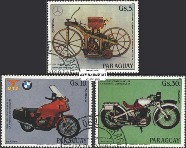Známky Paraguay 1984 Motocykle, razítkovaná séria