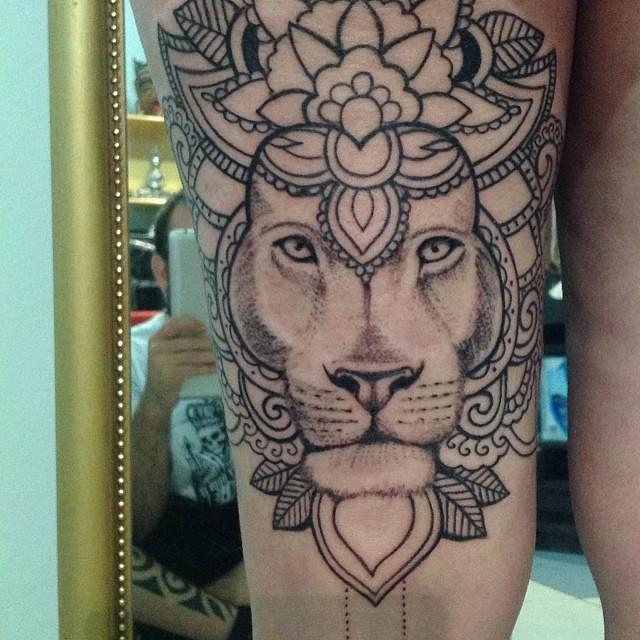 inprogress lion mandala eliosfaktory tattoo elio s faktory flickr. Black Bedroom Furniture Sets. Home Design Ideas