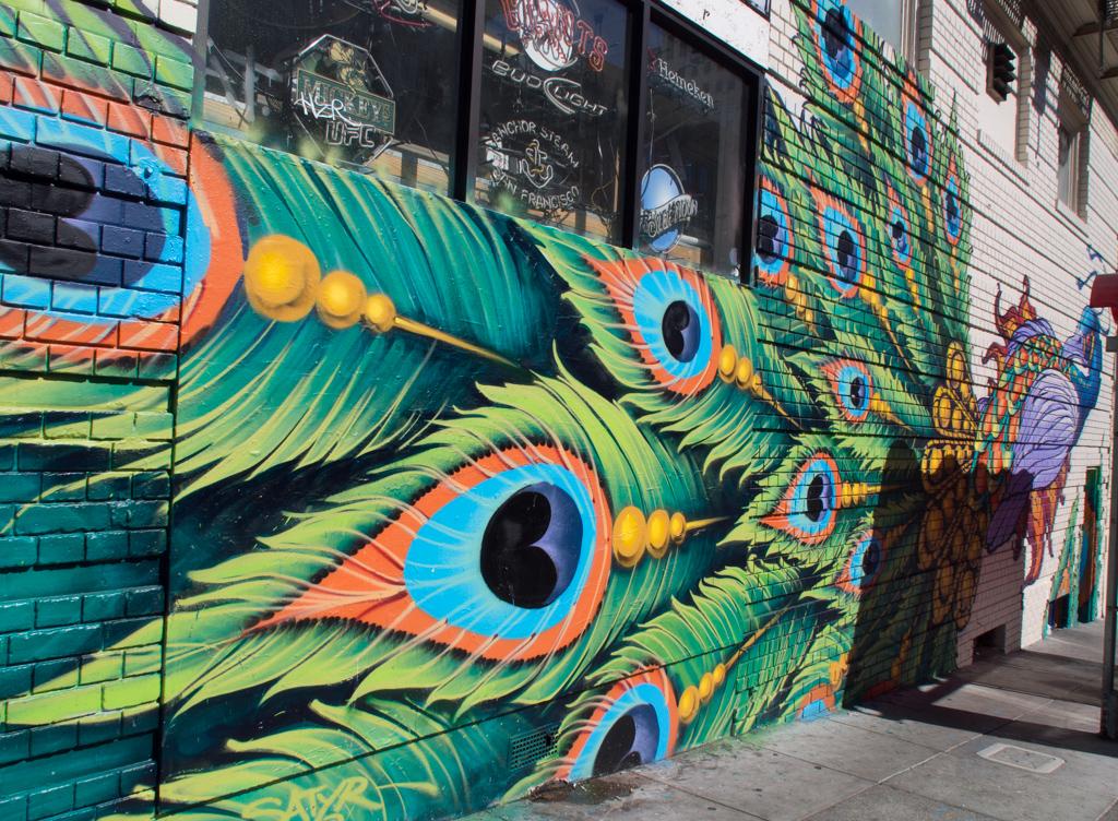 Peacock Graffiti San Francisco Green Feathers Mural