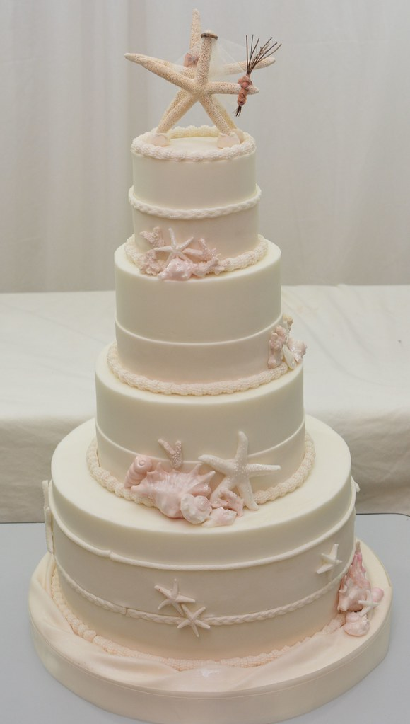 beach themed wedding cake lori ann foley flickr. Black Bedroom Furniture Sets. Home Design Ideas