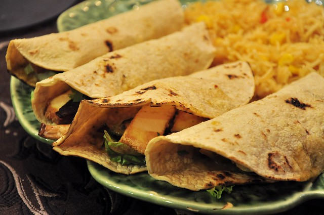 tacos with mesquite-smoked tofu, mushrooms and tomatillo salsa,  golden rice