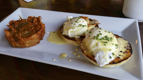 pork belly benedict with hash browns at Taproom on 19th