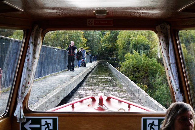 View from inside tour boat crossing Pontcysyllte Aqueduct,, Wales.