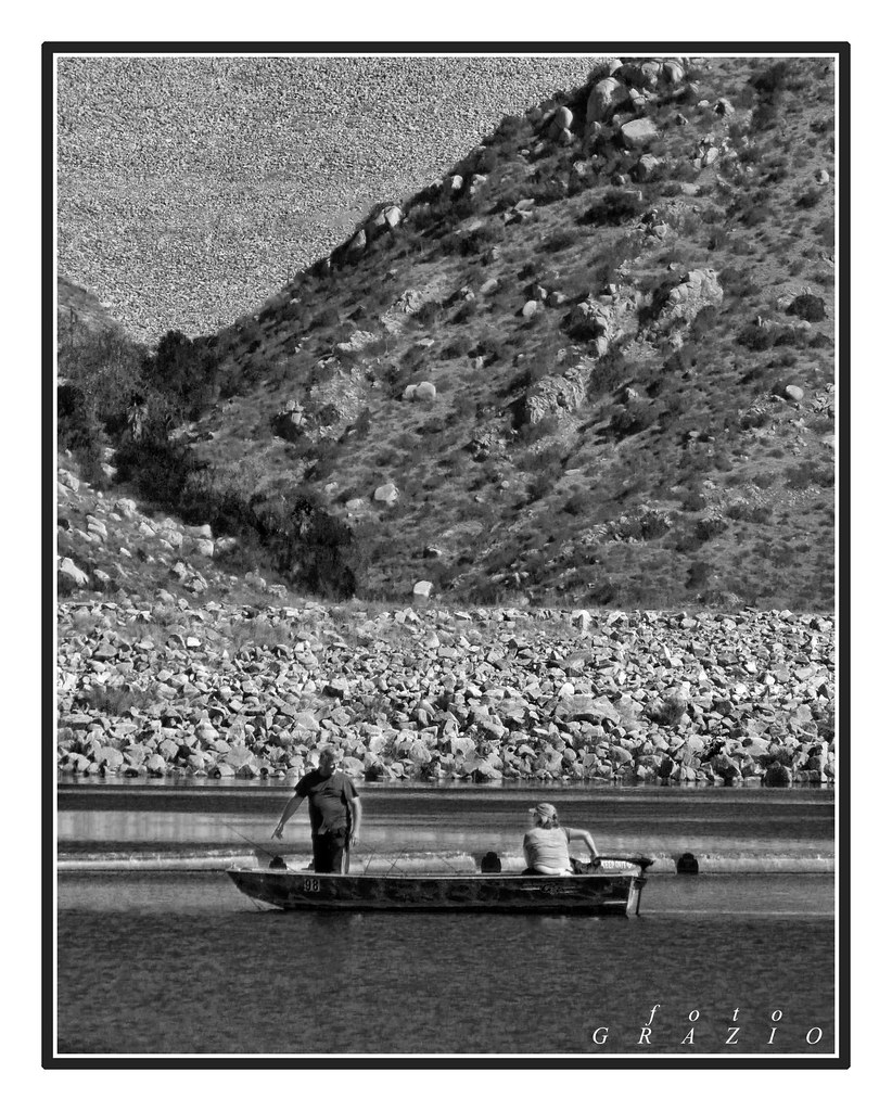 Couple fishing on lake poway poway california wayne s for Lake poway fishing