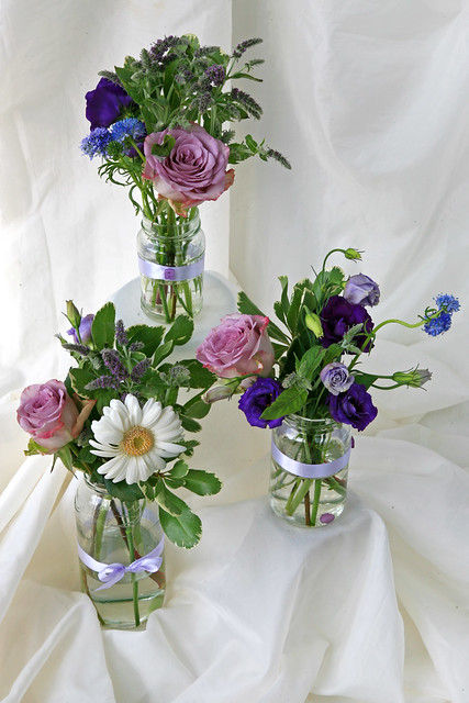 Wedding Flowers For Venue : Wedding flowers venue decoration in jam jars