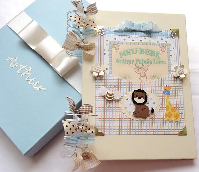 diário de bebê safári creme azul