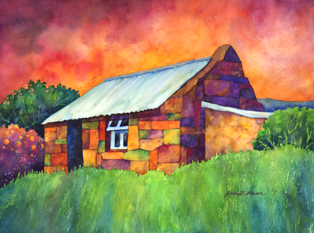 Blue Roof Cottage Another Patchwork Style Painting