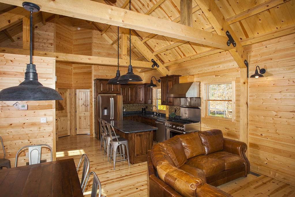Wood Barn Cabin Living Space in Iowa | Sand Creek Post