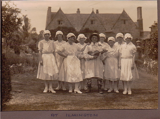 Dancers at Ilmington, with fiddler Sam Bennett. 1920s? From the Bob and Jean Turner postcard collection.