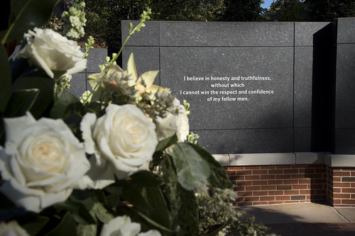 A line from the Auburn Creed is shown engraved into the Auburn Memorial
