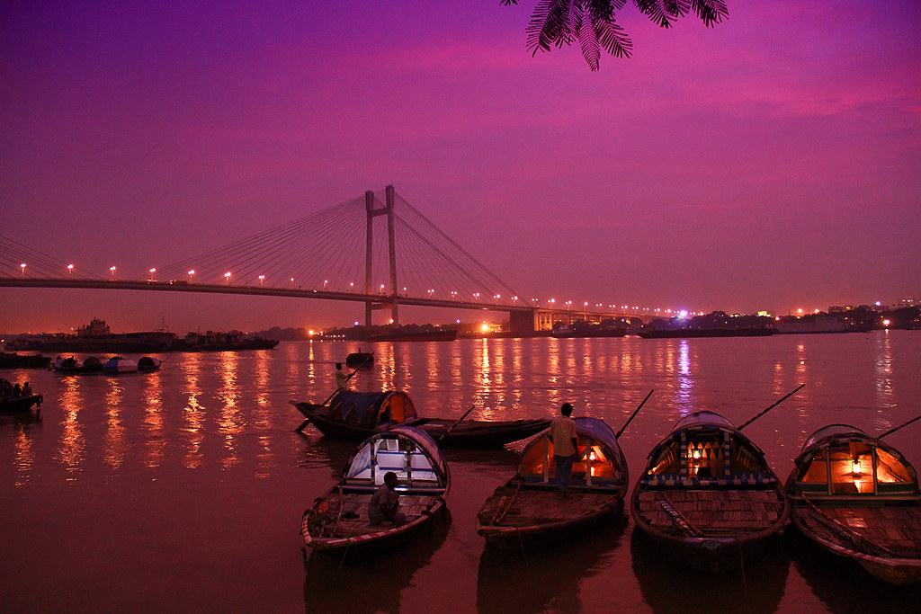 Vidyasagar Setu The Bridge Illuminated At Night With A