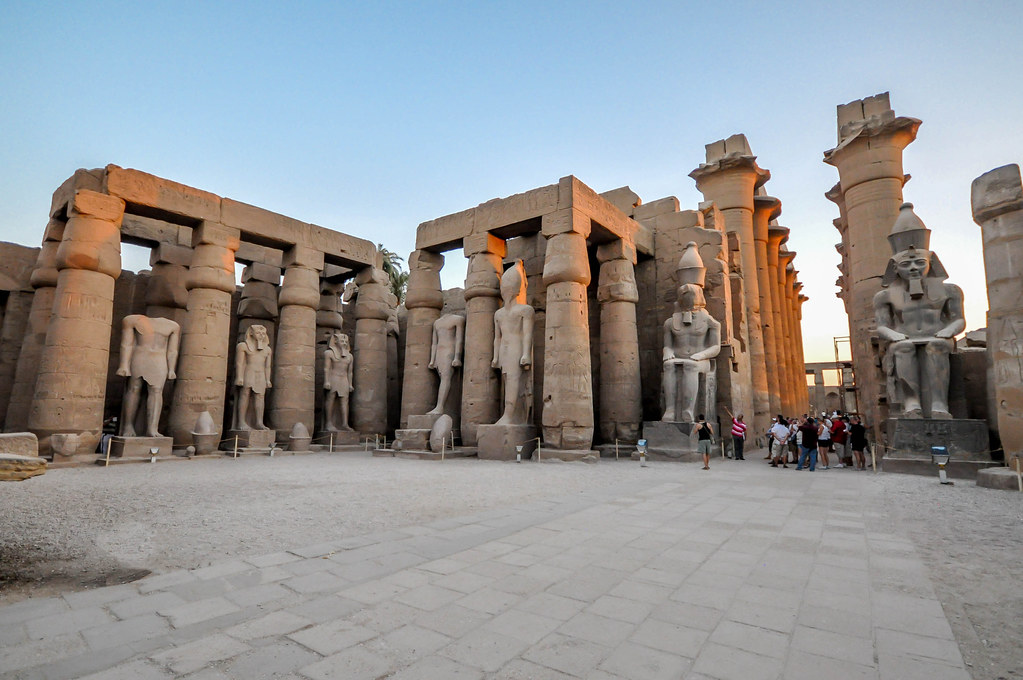 The Courtyard Of Ramses Ii Luxor Temple Beyond The