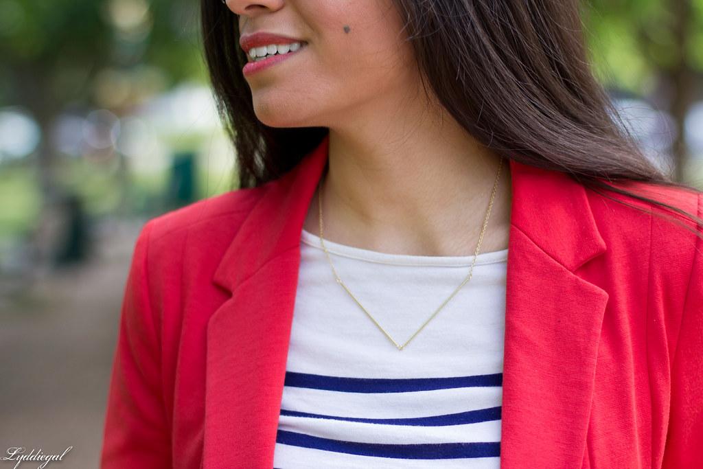 red blazer, striped shirt, navy trousers, white bag-5.jpg