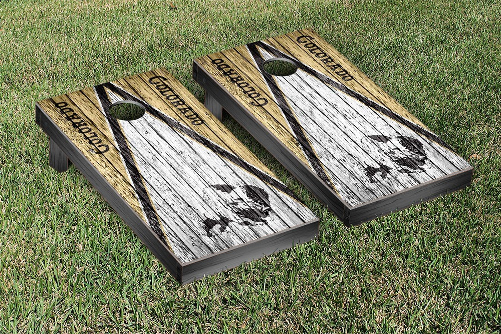 Colorado Buffaloes College Vault Cornhole Game Weathered Triangle Version