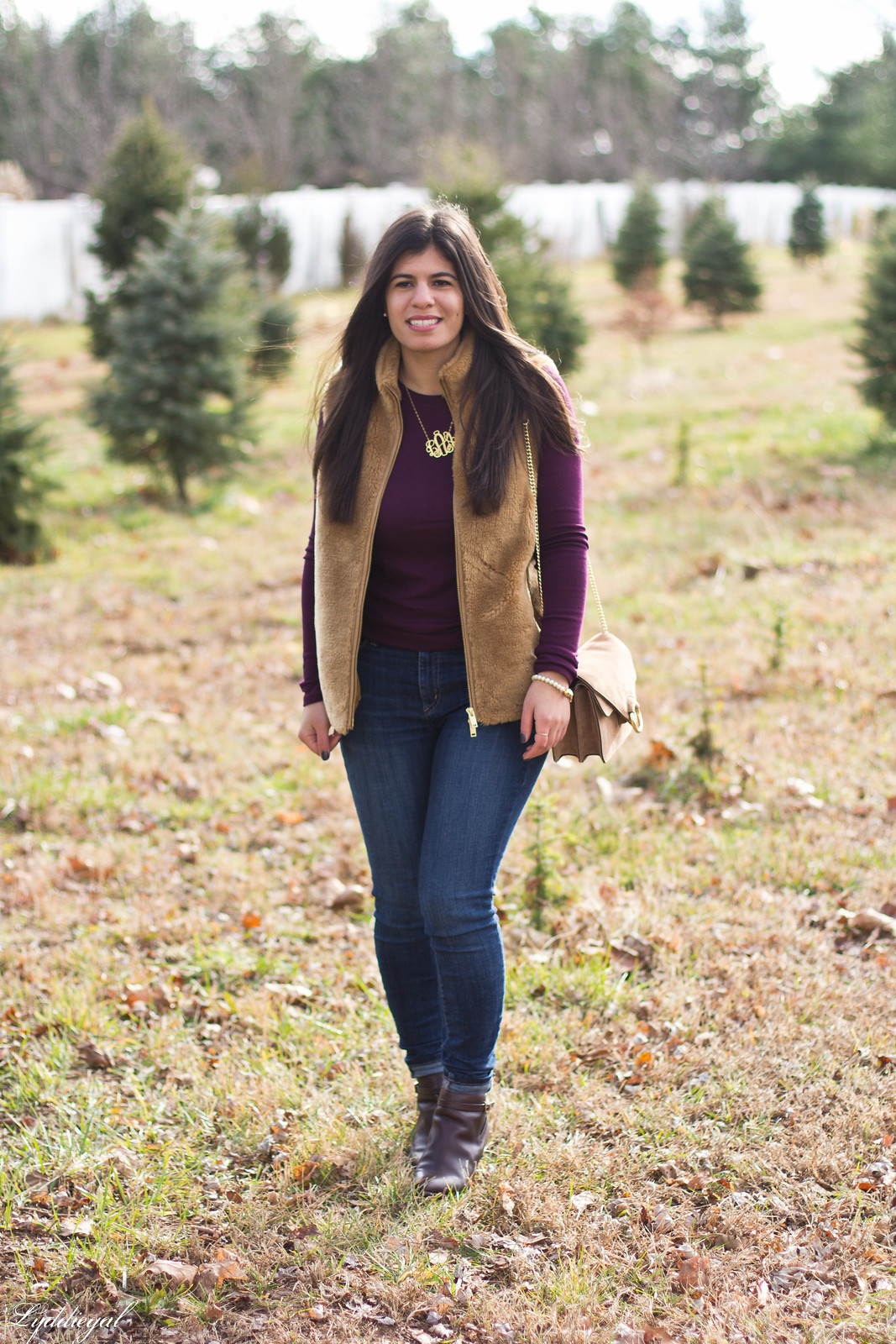 burgundy top, j.crew fleece vest, monogram necklace-3.jpg