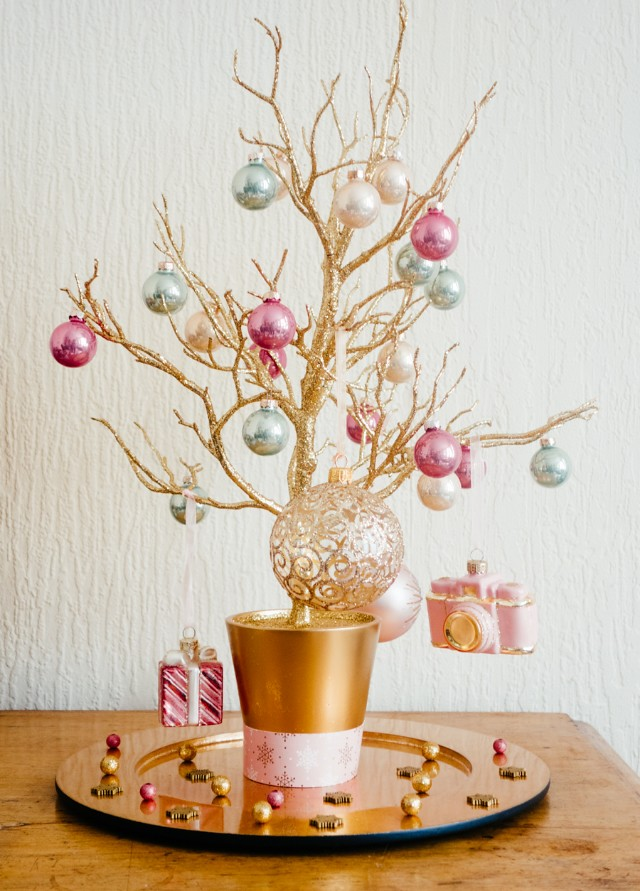 gold ostravia christmas tree and baubles from john lewis