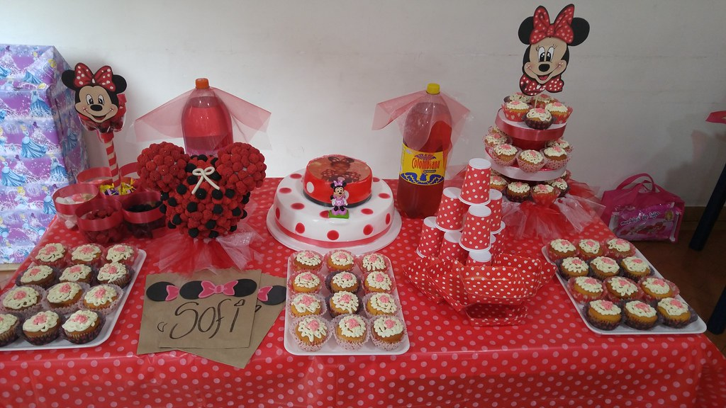 Decoracion minnie mouse fiesta cumplea os ni a rojo pastel - Como decorar una fiesta de cumpleanos ...