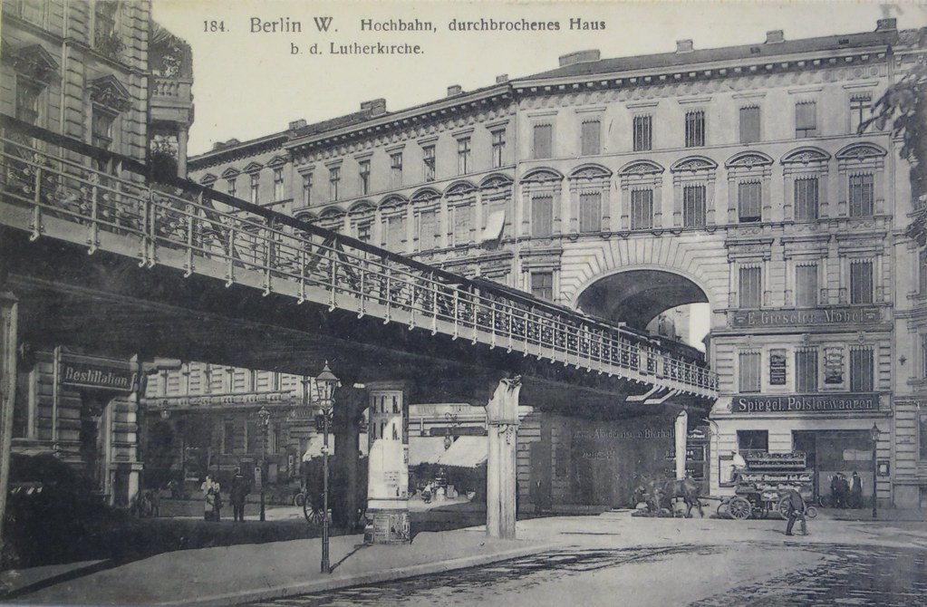 berlin sch neberg hochbahn an der lutherkirche um 1900. Black Bedroom Furniture Sets. Home Design Ideas
