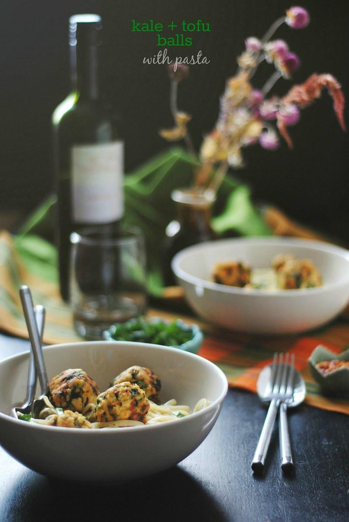 kale + tofu balls with pasta