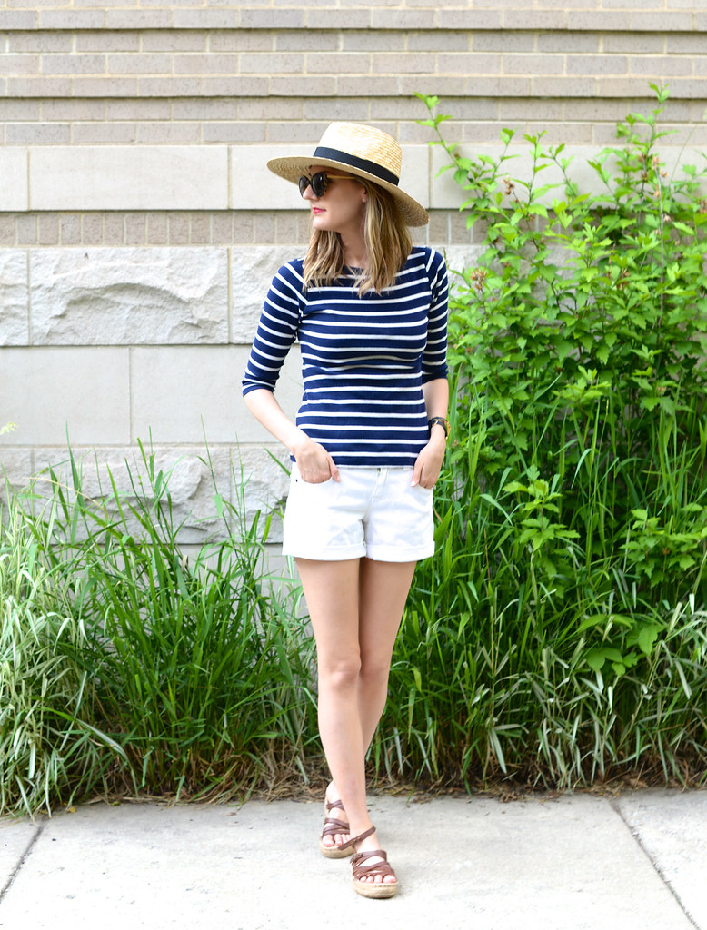 summer stripes outfit, panama hat, espadrilles