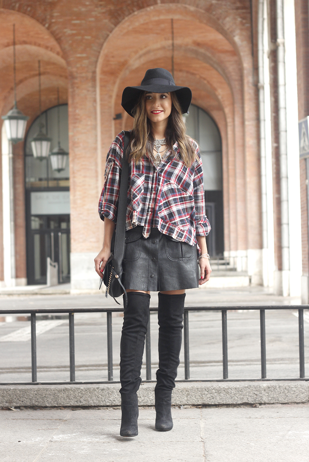 tartan shirt leather skirt over the knee boots accessories hat fashion outfit rainny day10