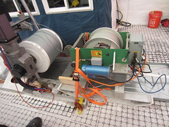 The Intermediate Depth Logging Winch (right) in position for borehole logging