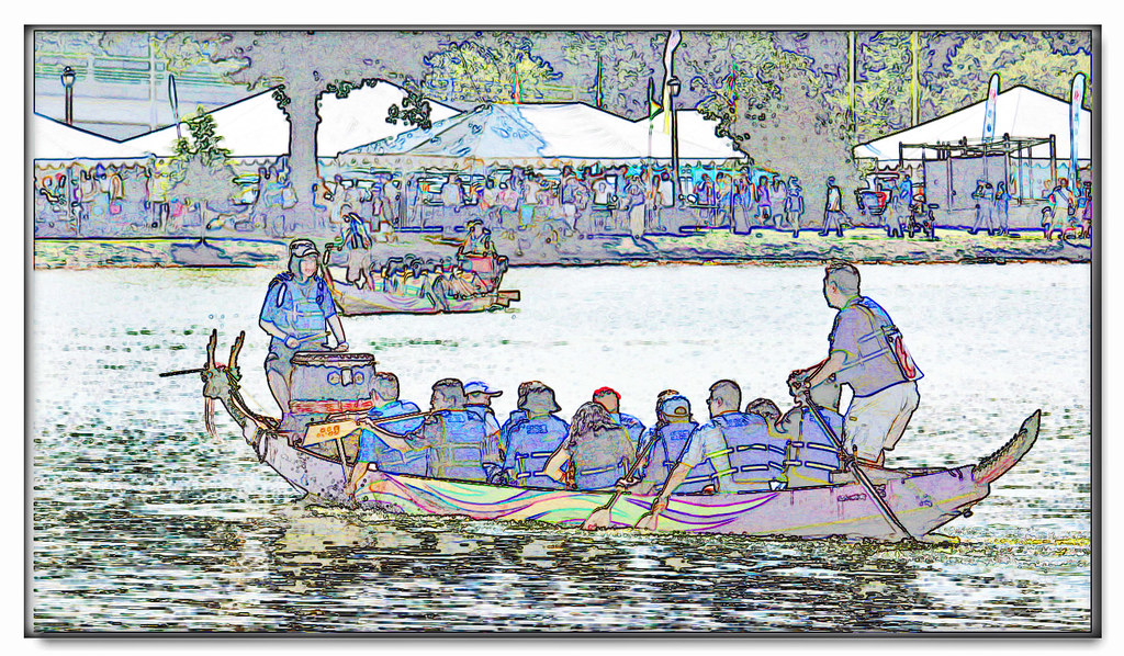 Dragon Drawings in Color Dragon Boat Race as a Colorful