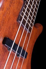 Closeup photo of solid-body electric bass