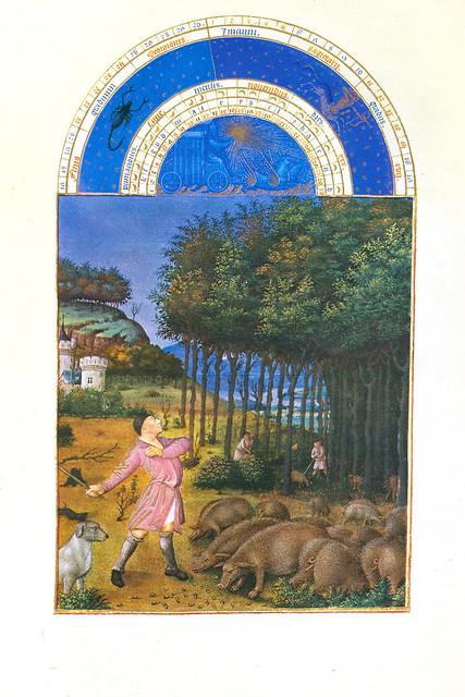 Stundenbuch des Herzogs von Berry ... Kalenderblatt November ... Schweinemast mit Eicheln