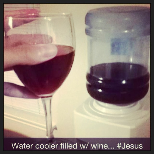 Water Cooler Filled With Wine Jesus Genevieve West