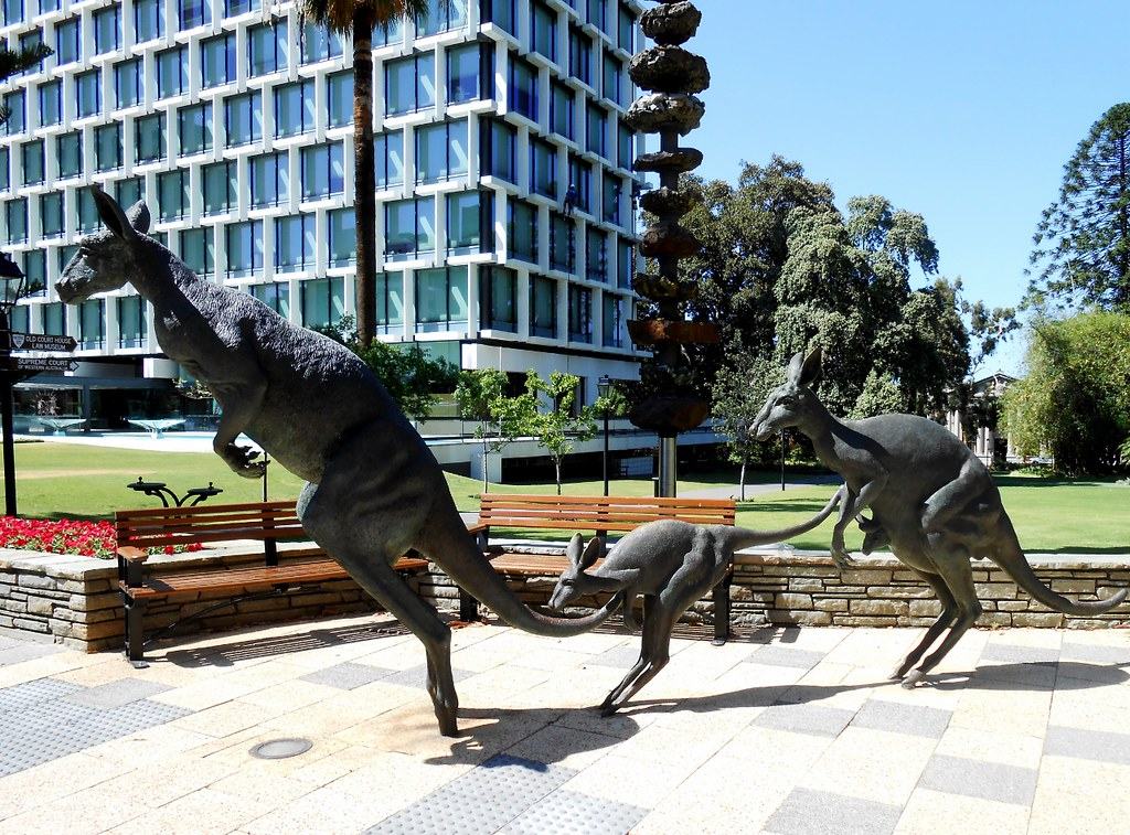 Kangaroo family sculpture st george 39 s terrace perth wa for 55a swanview terrace south perth