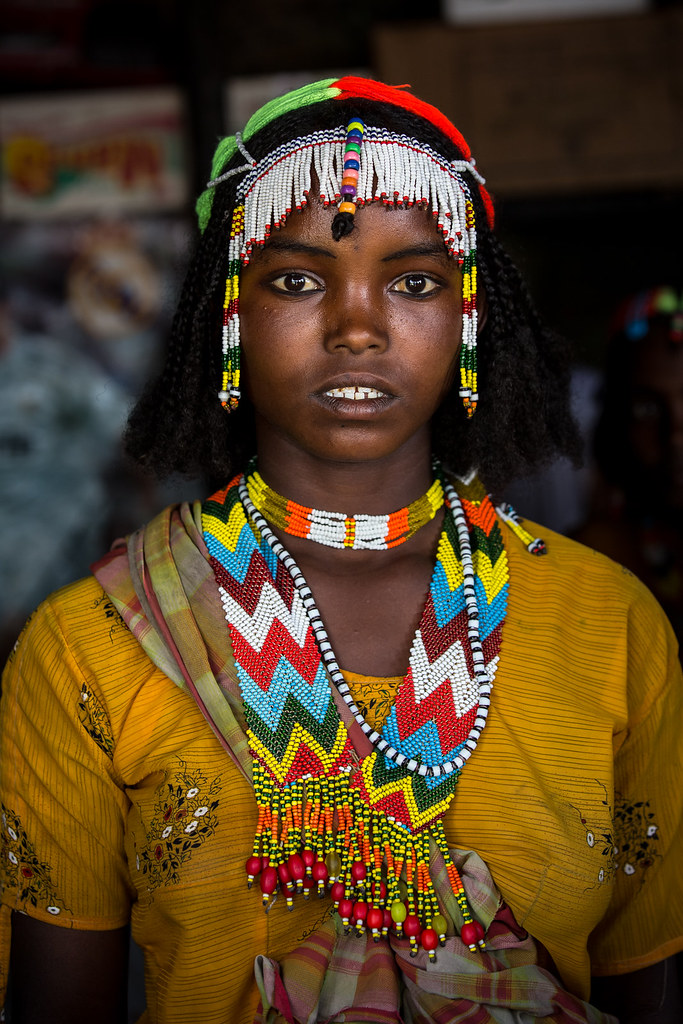 Oromo Beautiful Girl With Colorful Necklaces Near Asebe Te -8869