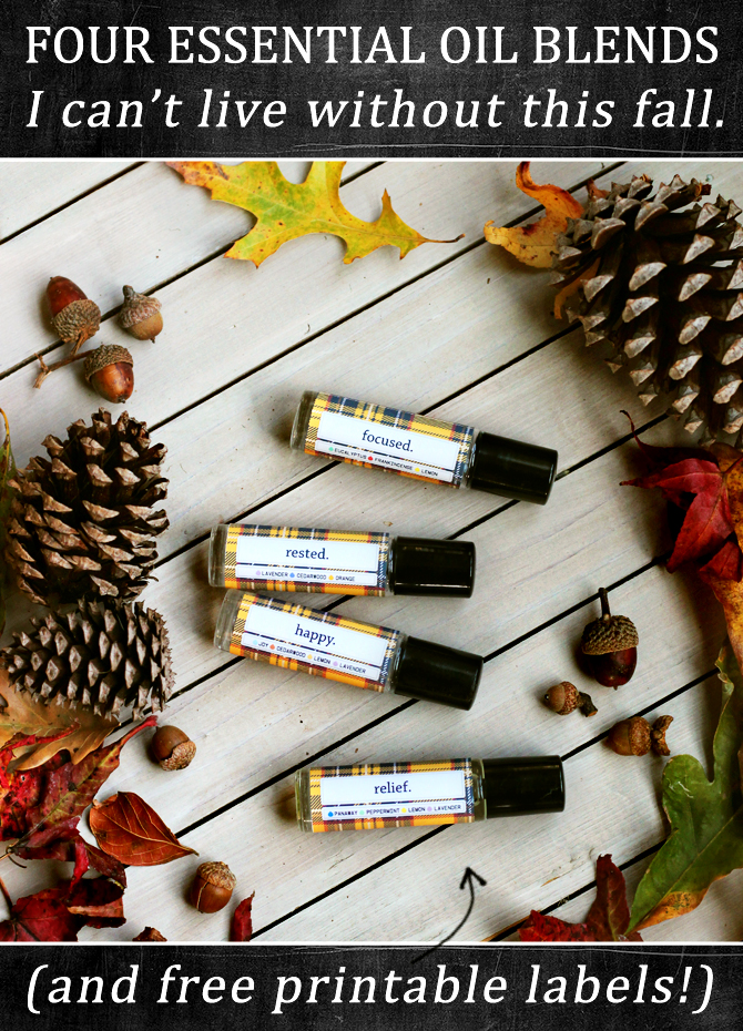 brittandhive.com: 4 Essential oil blends for the season and free flannel rollerball labels, Pin now, print and mix later!
