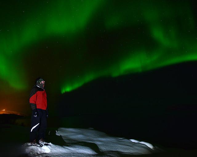 Viendo auroras boreales en Tromso, Noruega