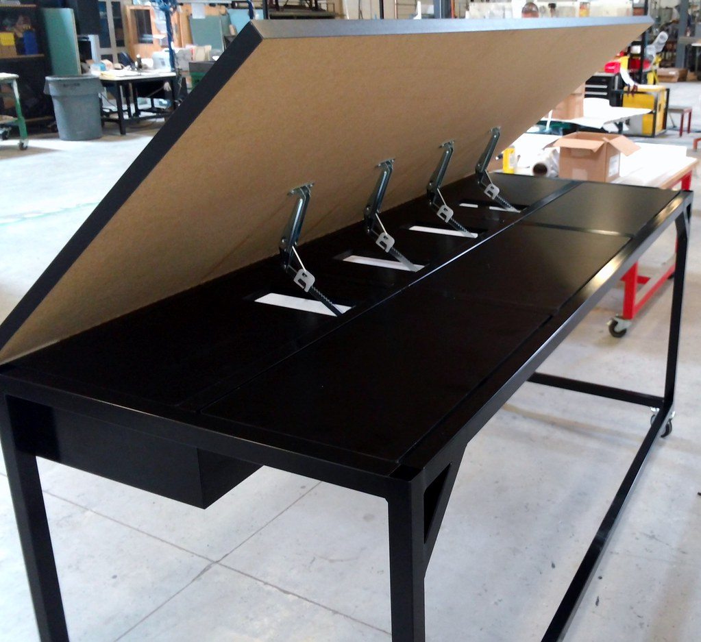 Perfect Drafting Table   Back View Of Piano Hinges | Basix 84W X 36Du2026 | Flickr