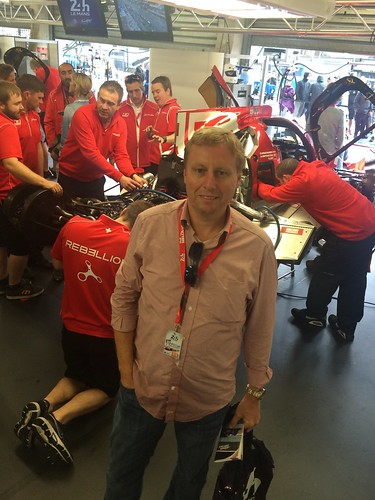 In the Rebellion garage at Le Mans
