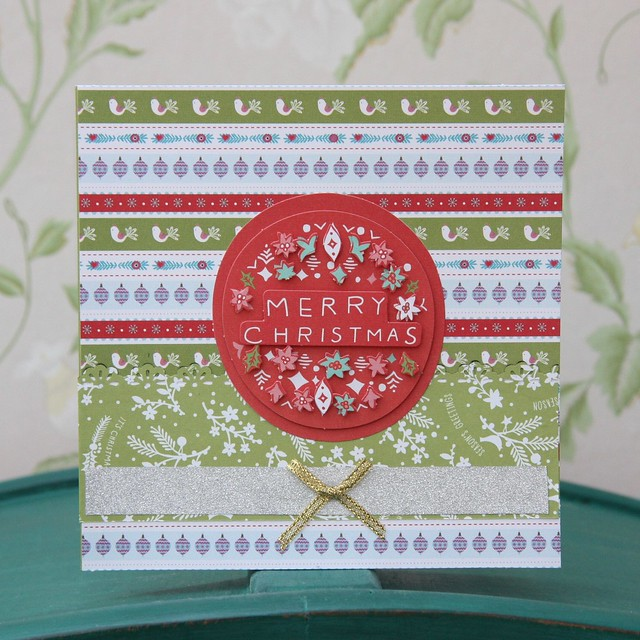Docrafts Folk Christmas - striped folk Christmas card with decoupage Merry Christmas. Made by StickerKitten.