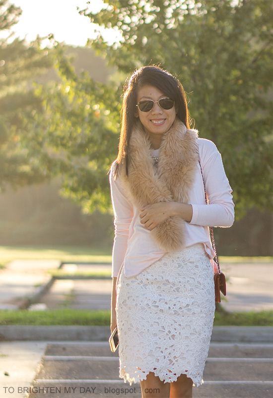faux fur scarf, light pink sweater, mixed metal necklace, white lace pencil skirt, red shoulder bag