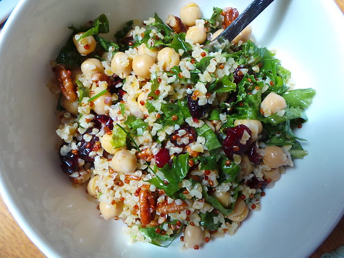 June 16 #dailylunches - bowl o'grains, chickpeas, kale, cranberries, pecan bits and light lemon dressing.