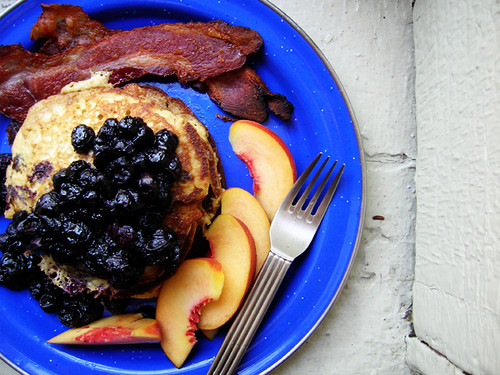 oatmeal lemon ricotta pancakes with blueberry compote, peaches, and ...